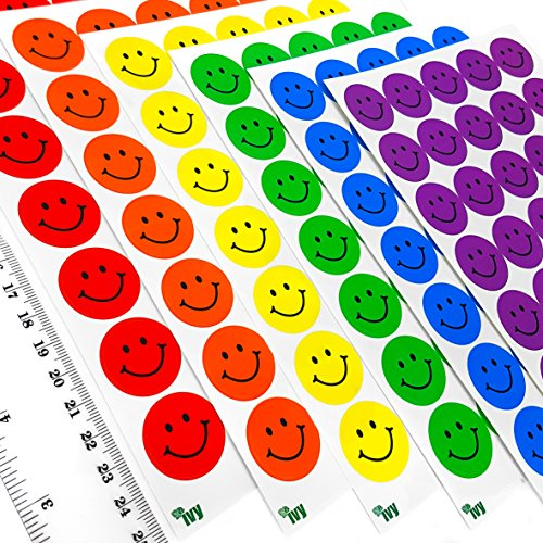 (Ivy Stationery – 23.5mm Assorted Colour Smiley Face Motivational Merit Award Stickers – Pack of 420 – 233002)