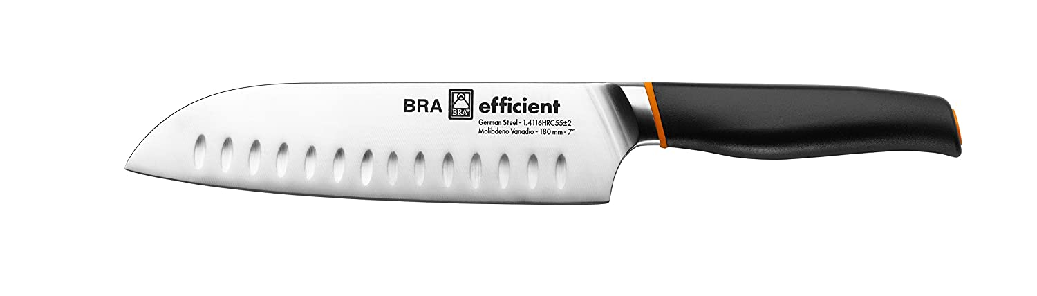 Bra Efficient Cuchillo Santoku, Acero Inoxidable, Gris, 3x5x34 cm: Amazon.es: Hogar