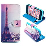 5C Case, iPhone 5C Case, ArtMine Eiffel Tower Morden City Durable Premium PU Leather Flip Folio Book Style Wallet Protective Skin Pouch Phone Case with Credit/ID Card Slot for Apple iPhone 5C