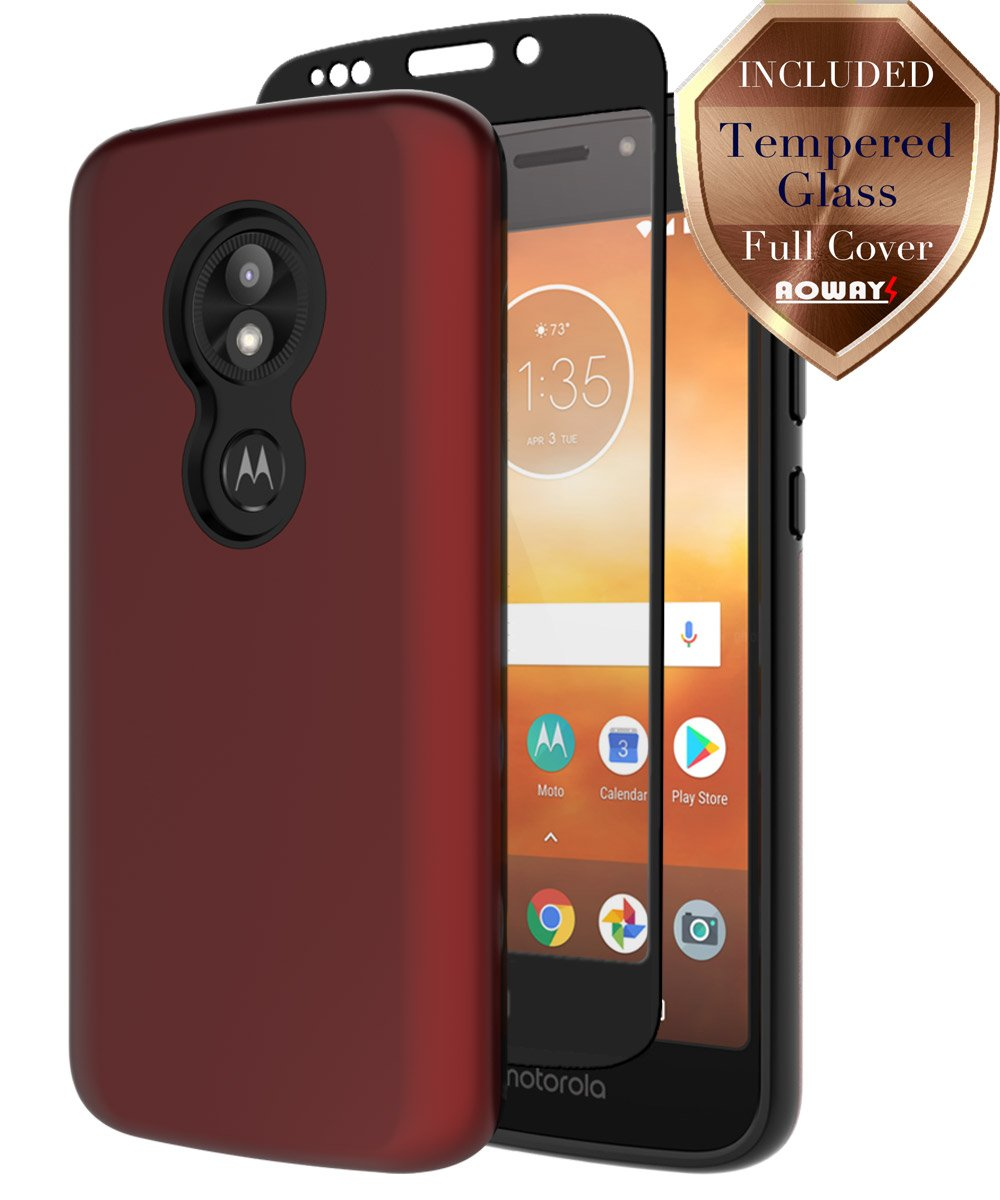 Moto E5 Play Case, Moto E5 Cruise Case with Aoways Tempered Glass Screen Protector, Anti-Slip Hard Back Cover + Soft TPU Shockproof Inner Protective Case for Motorola Moto E5 Play - Red