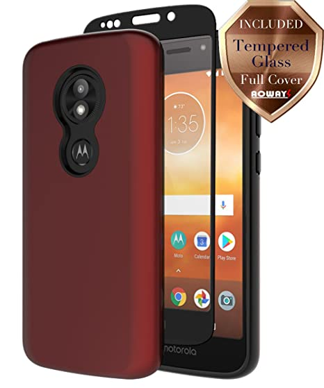 huge selection of f14cb 23878 Moto E5 Play Case, Moto E5 Cruise Case with Aoways Tempered Glass Screen  Protector, Anti-Slip Hard Back Cover + Soft TPU Shockproof Inner Protective  ...