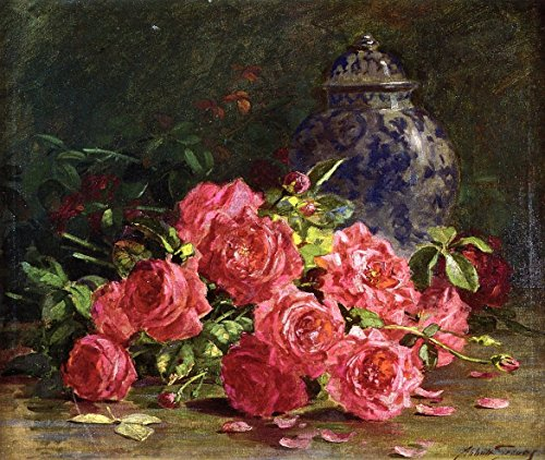 Cutler Miles Still Life With Roses And Ginger Jar by Abbott Fuller Graves Hand Painted Oil on Canvas Reproduction Wall Art. (Rose Ginger Jar)