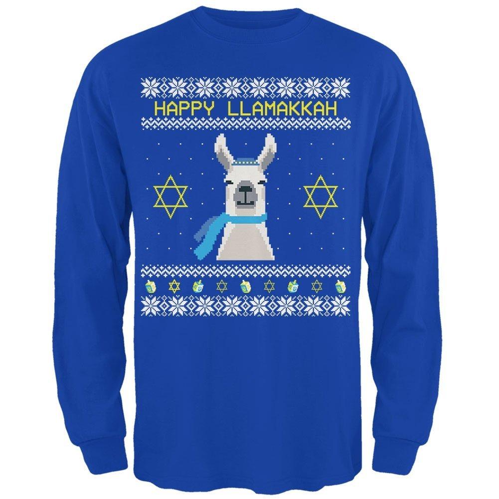 Llama Llamakkah Ugly Hanukkah Sweater Royal Adult Long Sleeve T-Shirt Animal World AW035829