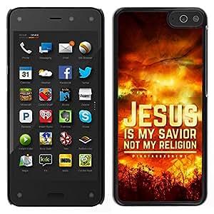 Caucho caso de Shell duro de la cubierta de accesorios de protección BY RAYDREAMMM - Amazon Fire Phone - BIBLIA Jesús es mi Salvador