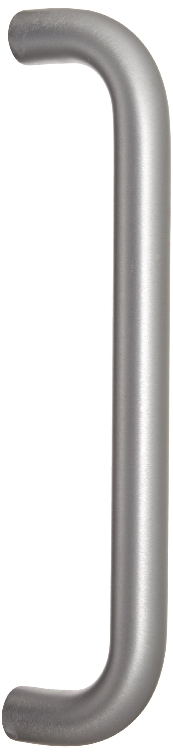Rockwood 112.28 Aluminum Straight Solid Door Pull for 1-3/4'' Door, 1'' Diameter x 12'' Center-to-Center, Type 1 Through-Bolt Mount, Clear Anodized Finish