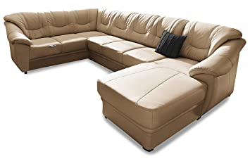 Sofa Couch Premium Leder Wohnlandschaft Santiago Braun Mit