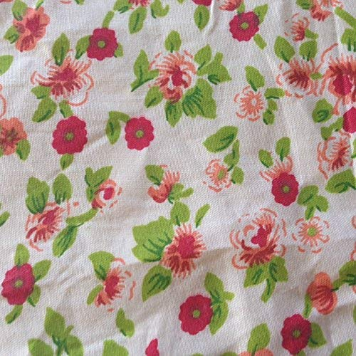 (Floral Rose Red Poly Cotton 60 Inch Fabric By the Yard (F.E.))