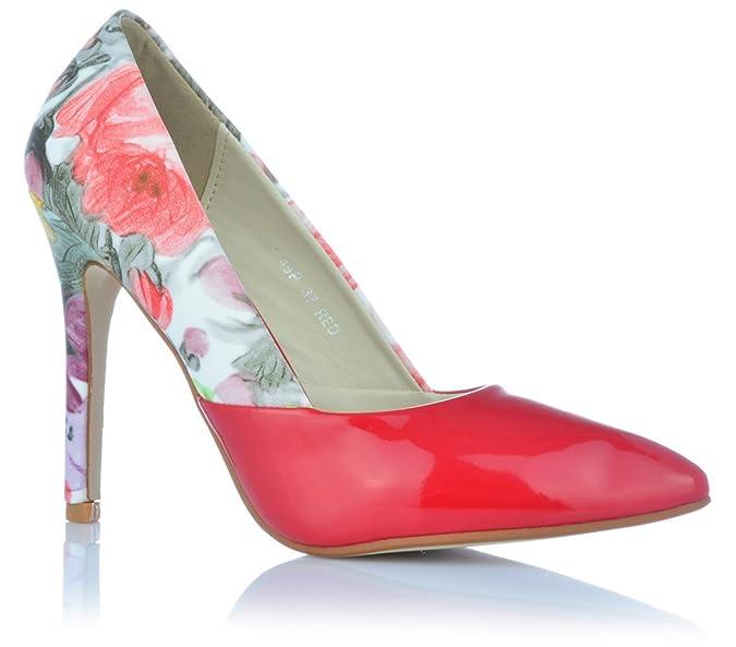 High Heels Stiletto Pumps Abendschuhe mit Ledereinlagen Lack-Optik Print  Blumen  Amazon.de  Schuhe   Handtaschen 71e5ef6041