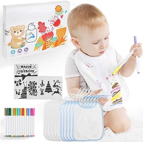 Lictin 28 pcs DIY Baberos para Bebé, 10 pcs Baberos de Bebé ...