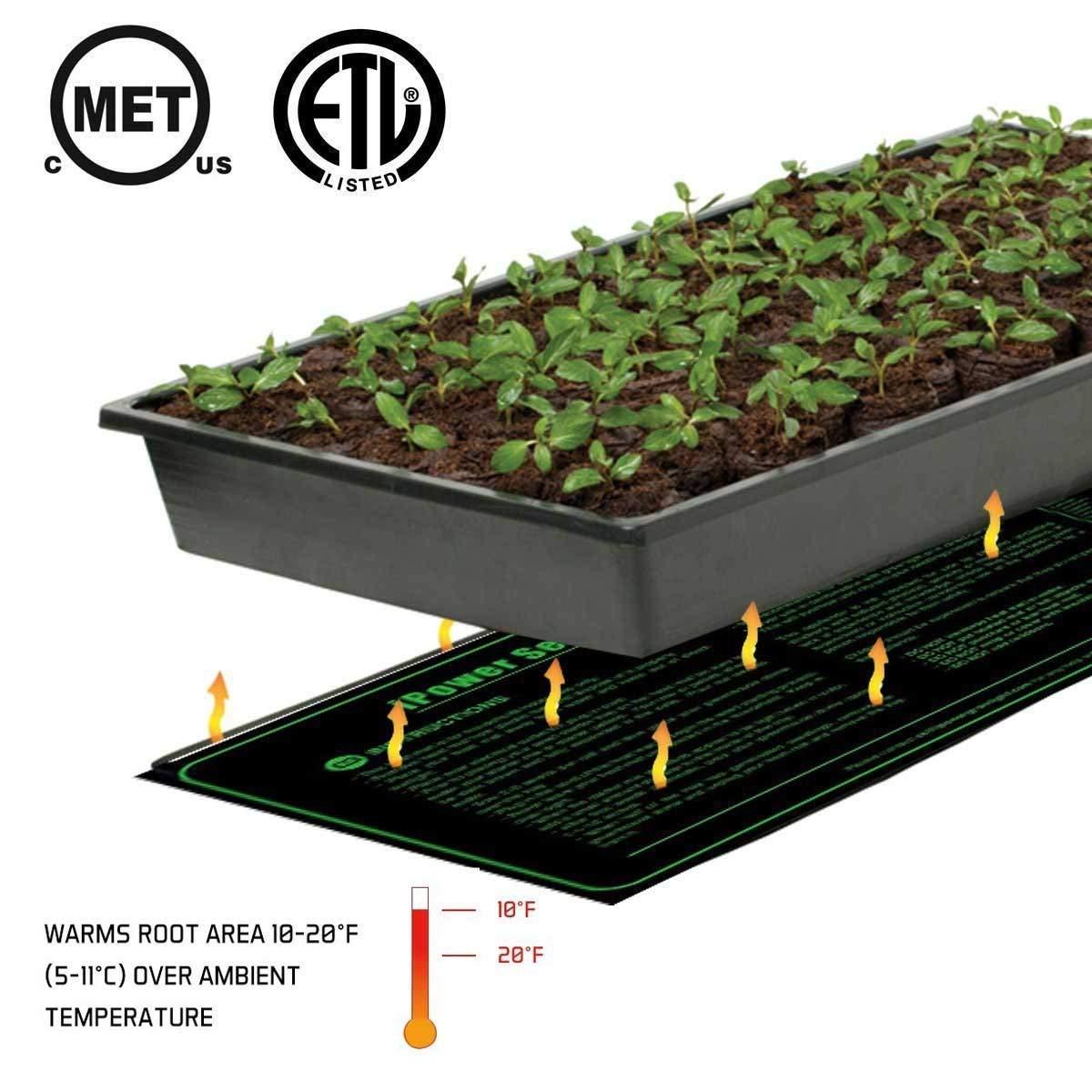 iPower GLHTMTLX2 2-Pack Durable Waterproof Seedling 48'' x 20'' Warm Hydroponic Heating Pad MET Standard, Black by iPower (Image #3)