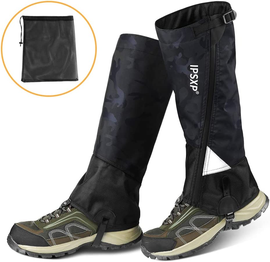 IPSXP Leg Gaiters Waterproof Snow Tear-Resistant Gaiters Zipper Design Gaiters Oxford Nylon Fabric Breathable Leg Cover, Suitable for People Outdoor Travel Hunting Camping Skiing Climbing
