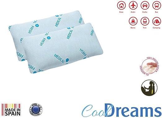 Cooldreams Almohada Viscoelástica Viaje 45x25 cm (Medical-FESH) Incluye petate. Enrollado, cómodo, fácil y Sencillo (Pack 2 Almohadas): Amazon.es: Hogar