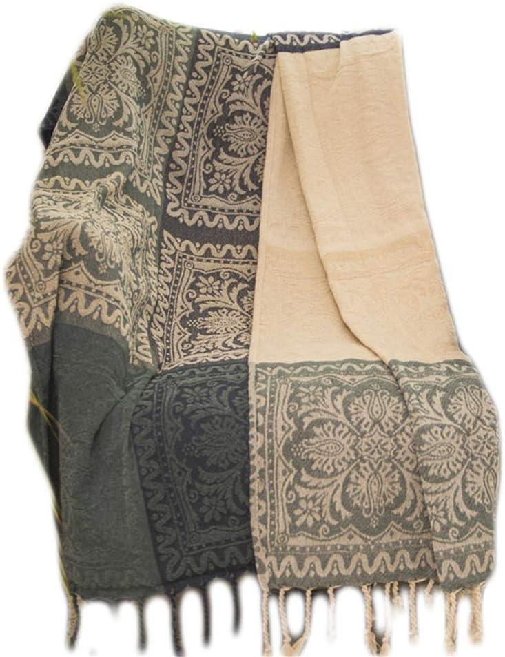 Cojín de sofá, cojín de sofá de chenilla literario de cubierta completa, algodón Manta de sofá a cuadros a prueba de polvo del sudeste asiático-150 * 190 cm
