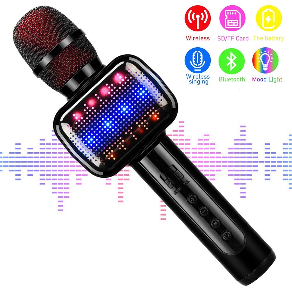 Rsiosle Wireless Karaoke Microphone, Kids Handheld Bluetooth Microphones with Speaker Portable Toy Karaoke Machine Music Sing Mic for Girl Boy Child Home Party KTV Outdoor