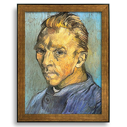 Self Portrait by Vincent Van Gogh Framed Art Print Famous Painting Wall Decor Bronze and Black Frame
