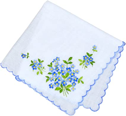Amazon.com: Forget-Me-Nots Wedding Something Blue European Handkerchief  Embroidery Heirloom Cotton Ladies: Arts, Crafts & Sewing