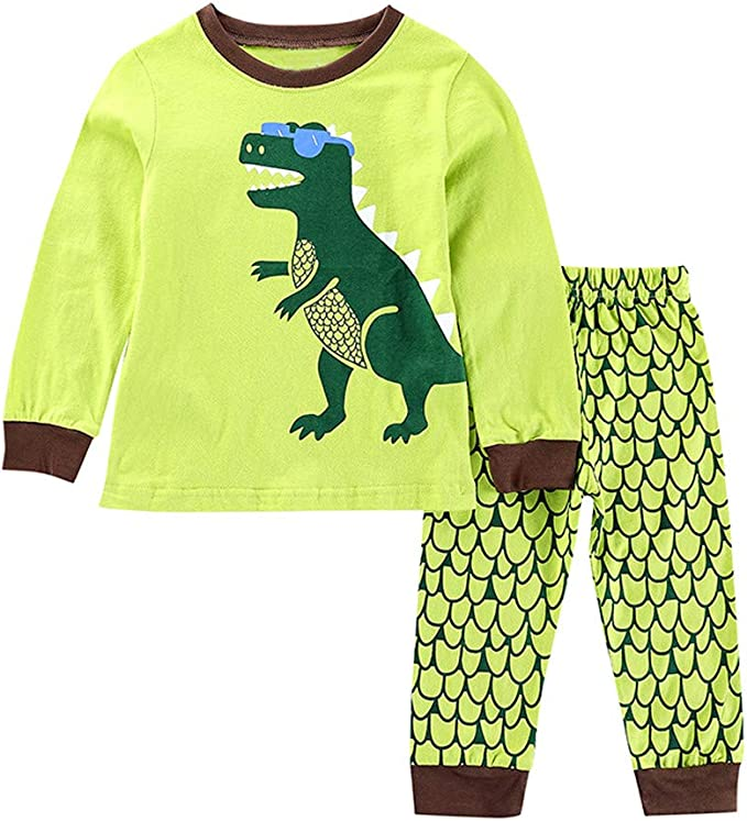 Kids Soft Cartoon Dinosaur Print Long Sleeves Pajamas Sets Boys Girls Sleepwear