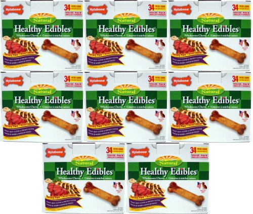 Nylabone Healthy Edibles Roast Beef /Chicken Variety Value Pack, Petite 272ct (8 x 34ct) by Nylabone