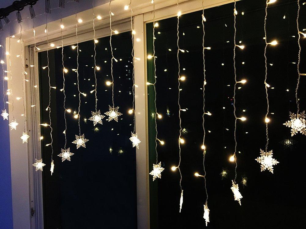 BLOOMWIN 2x1M copo de nieve Guirnaldas luces cortina 8 modos 104 LED 220V Cadena de Luces de Navidad para el balcón, ventana, pared, escaparate, boda, fiesta, navidad [Clase de eficiencia energética A] XY001