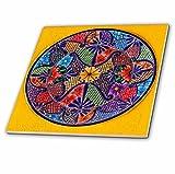 3dRose Colorful Mexican Plate, Guanajuato, Mexico Decorative Tiles, 12'' Ceramic, Clear