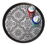 Round Trays Silver European Serving Trays Hotel Non Skid Plastic Tray 40cm