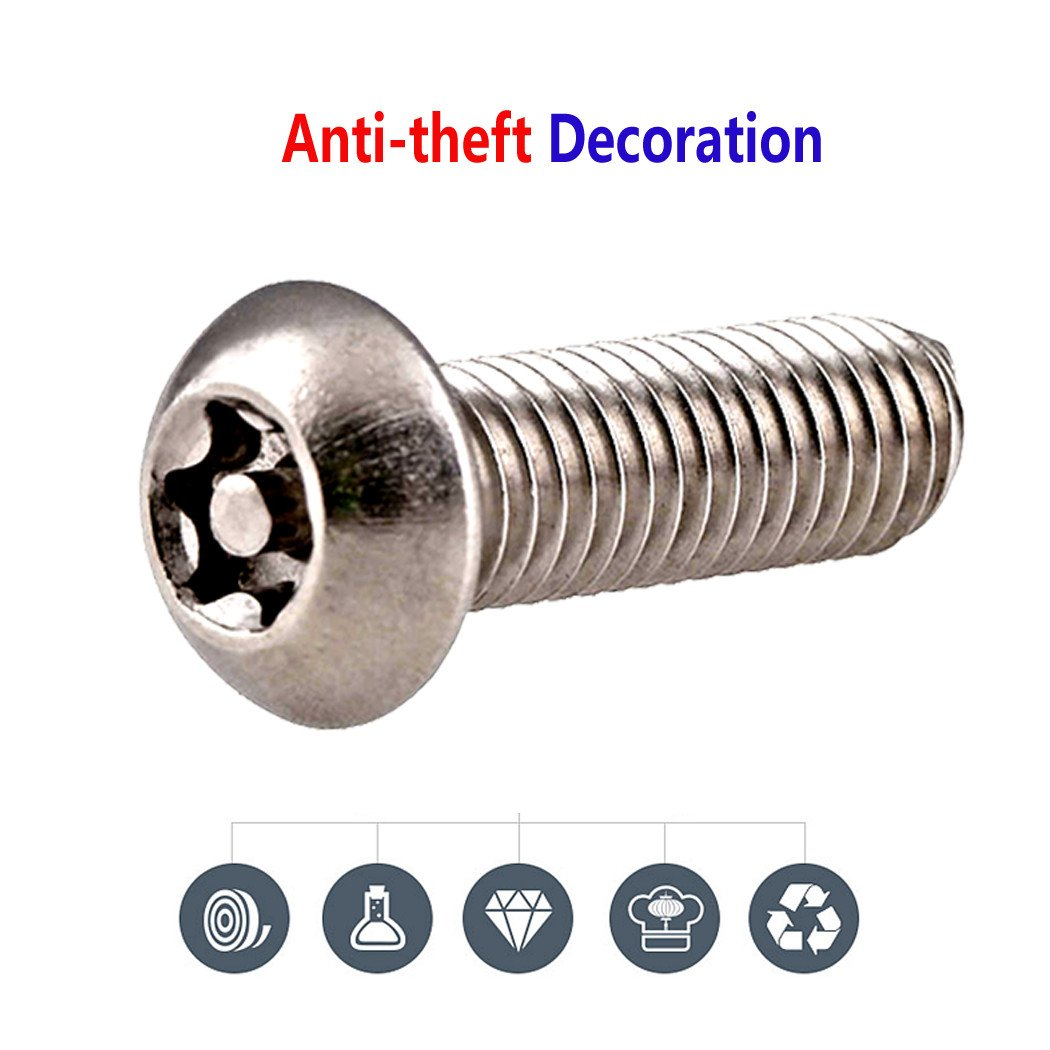 Anti Theft License Plate Screws 1//4-20 x 1 Button Head Security Machine Screw and Black License Plate Screw Cover-33 Kits Tamper Resistant 304 Stainless Steel Plate Screws