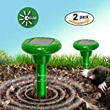 #9: Redeo Mole Repeller Solar Sonic Mole Repellent Repel Mole Gopher Vole Rodent Repeller Spike Waterproof (Pack of 2)