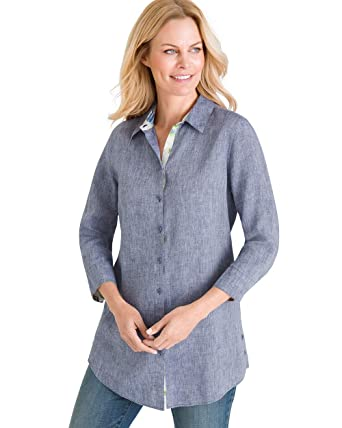 cab35eda Chico's Women's No-Iron Linen Side-Button Tunic at Amazon Women's ...