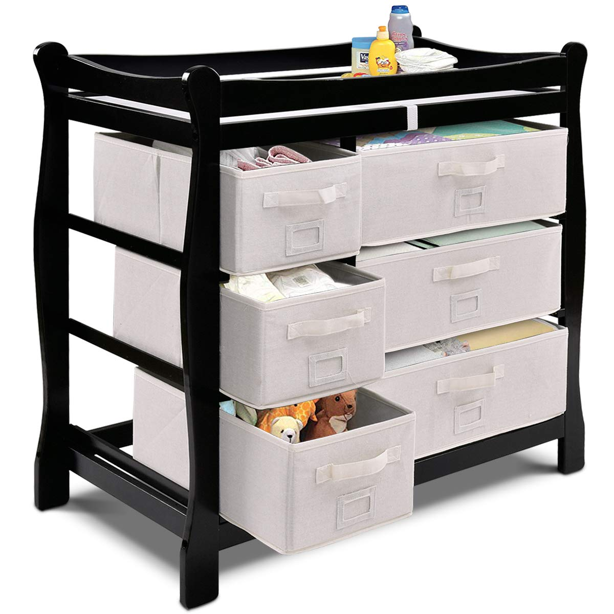 Costzon Baby Changing Table, Infant Diaper Changing Table Organization, Newborn Nursery Station with Pad, Sleigh Style Nursery Dresser Changing Table with Hamper/ 6 Baskets (Black) by Costzon