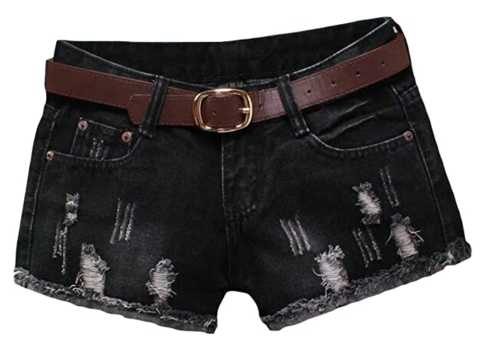 e76b7f8363 UUYUK Women Low Waist Cut Off Ripped Holes Sexy Skull Print Denim Shorts  Jeans Hot Pants