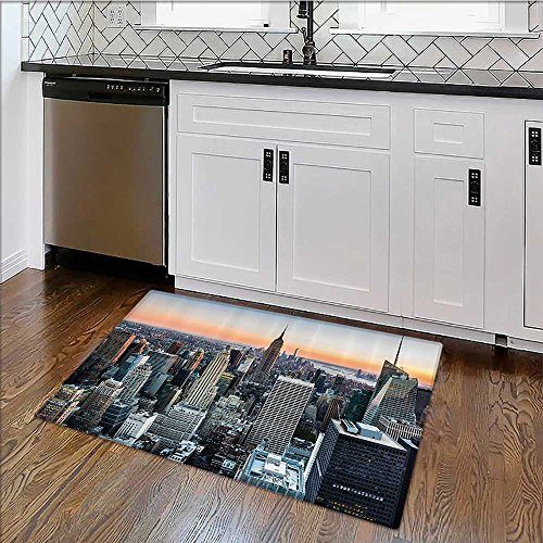 Penthouse Accent - Home Décor Rug erial Cityscape Landmark Fourth of July Independence Penthouse Modern for Living Room, Bedroom, and Dining Room W24