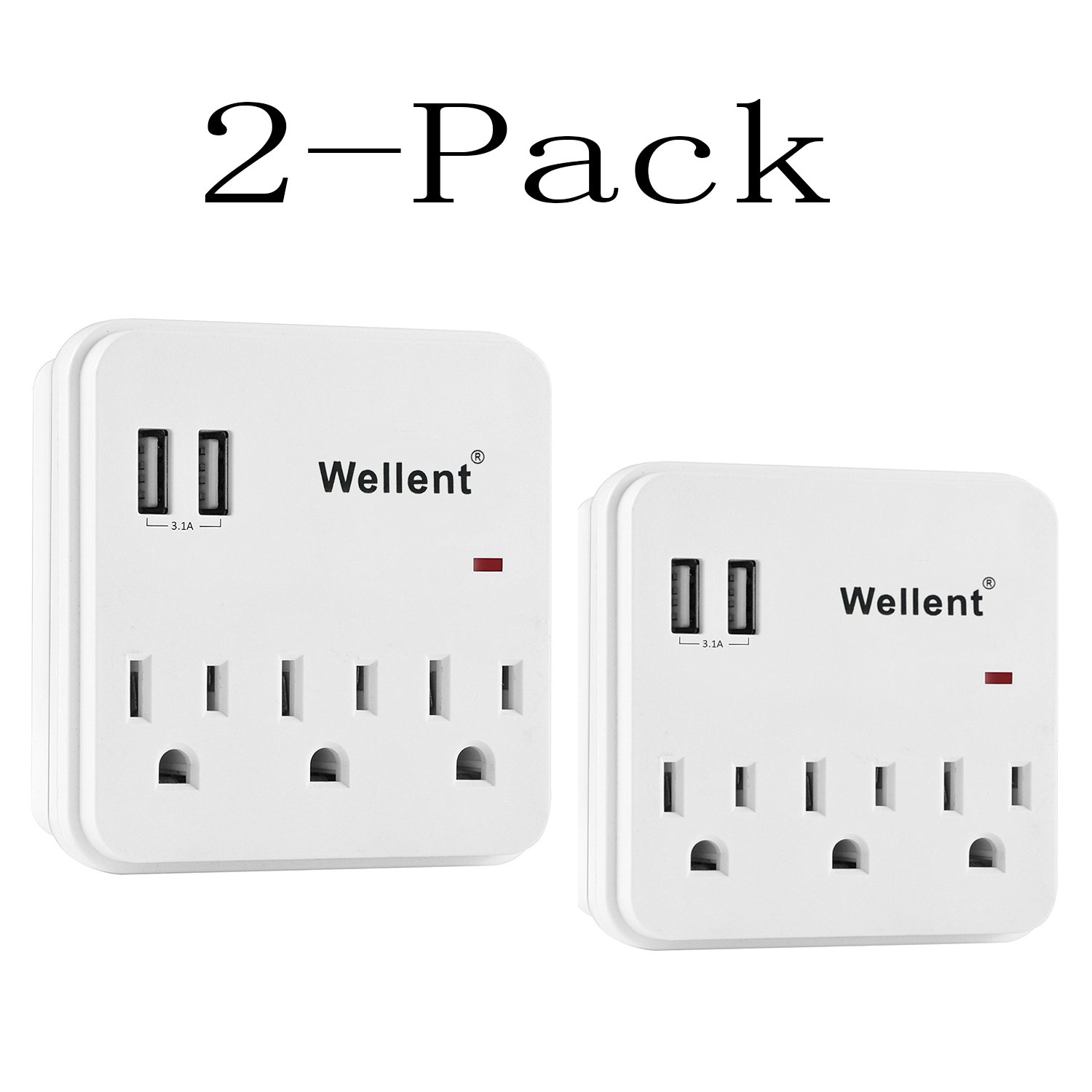 Wellent Multi wall mount power strip with usb ports with 3 Electrical Outlets and 2 USB Charging Ports (2.4A/Port, 3.1A Total), ETL Certified and surge protective device