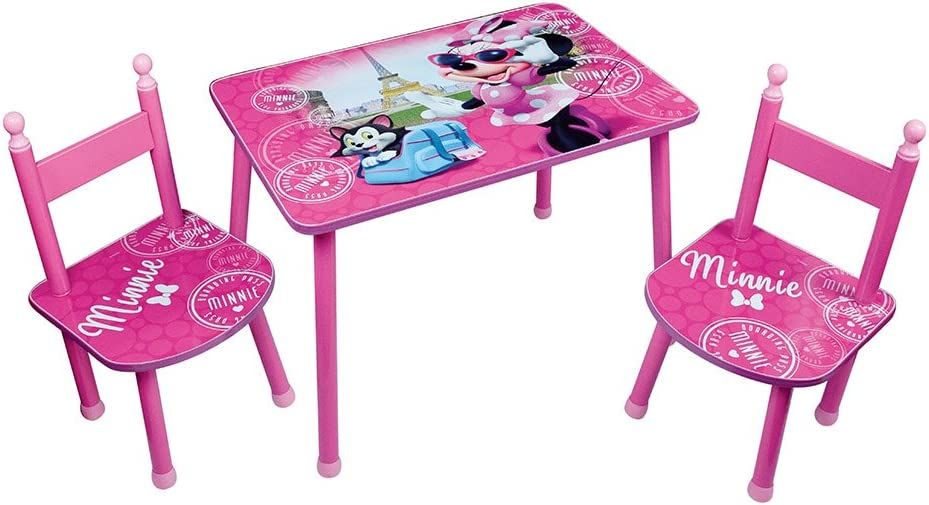 Fun House 712885 Disney Minnie - Mesa con 2 sillas para niños, MDF y Metal, 60 x 40 x 44 cm