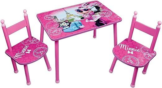 Fun House Disney Minnie Tisch mit 2 Stühle für Kinder, MDF