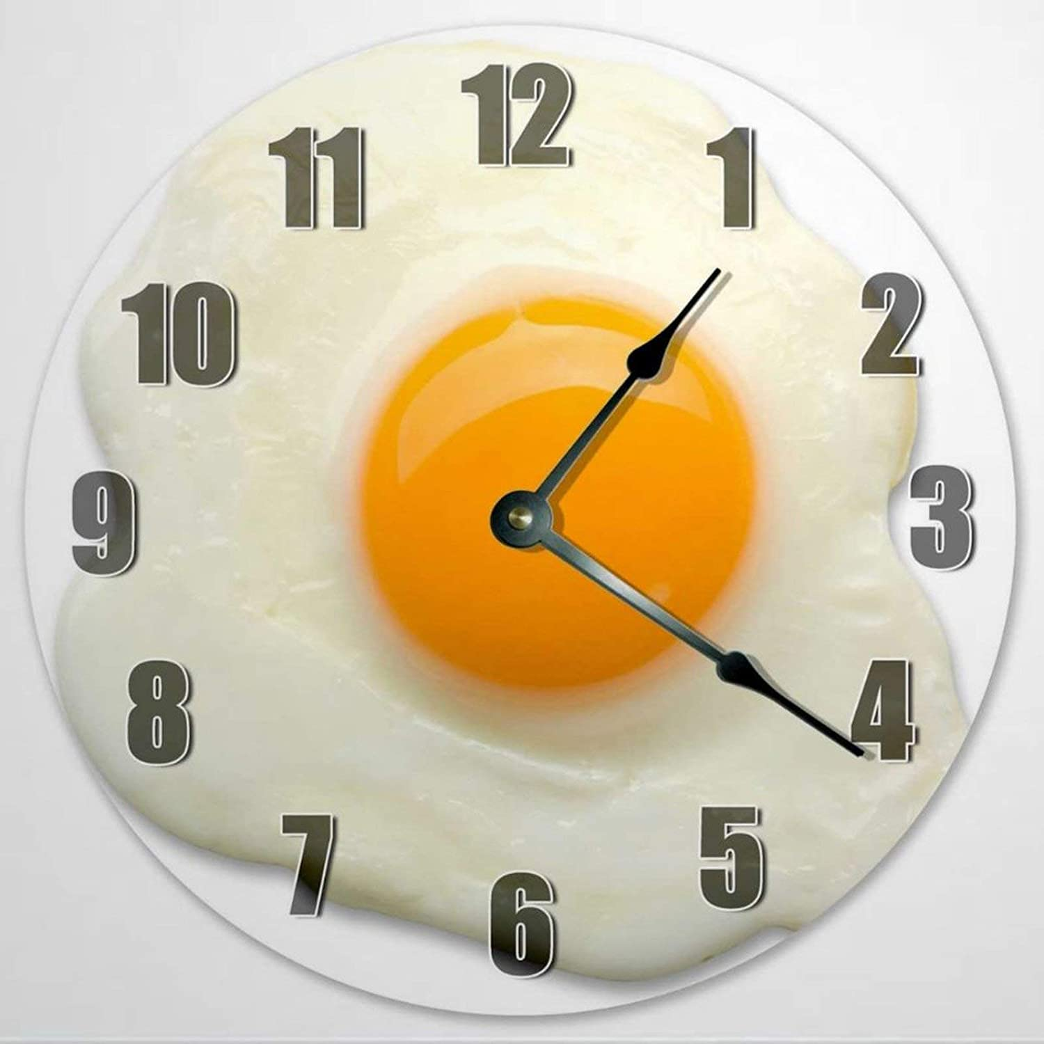 Sunny Side Up Egg Wooden Wall Clock Silent Non Ticking Food Clock 12 Inch Battery Operated Round Easy to Read Kitchen Clock for Home Office School