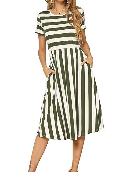 19bc734da4b20 levaca Women's Casual Short Sleeve Striped Swing Midi Dress with Pockets