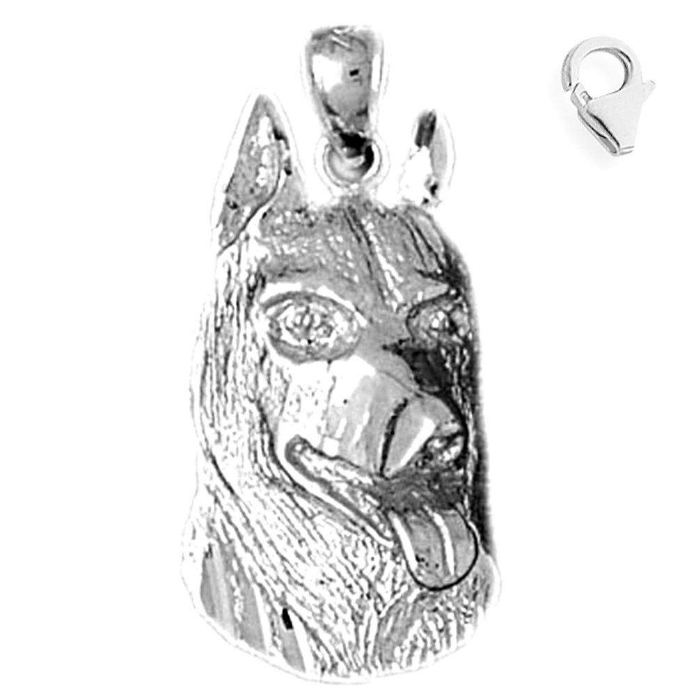 JewelsObsession Sterling Silver 28mm German Shepard Dog Charm w//Lobster Clasp