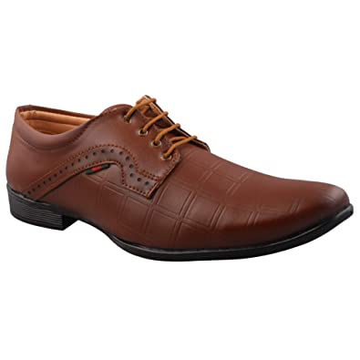 fb7aa0bb4319 SFWEAR Men s Synthetic Leather Lace-Up Formal Shoes Brown  Buy ...