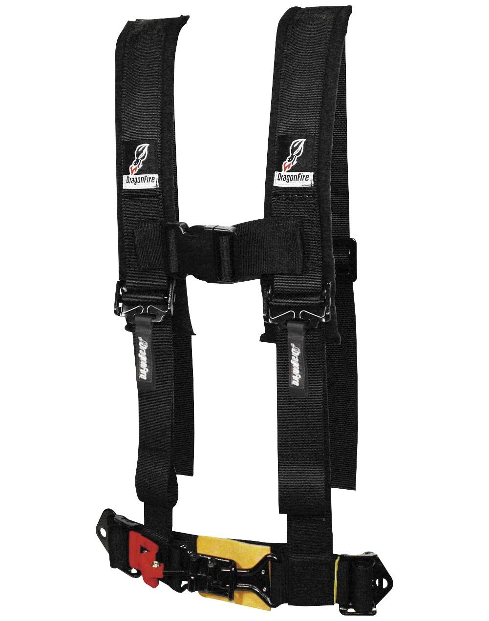 DragonFire 4 Point H-Style 2' Youth Harness W/Sternum Clip (Sewn Together) Black