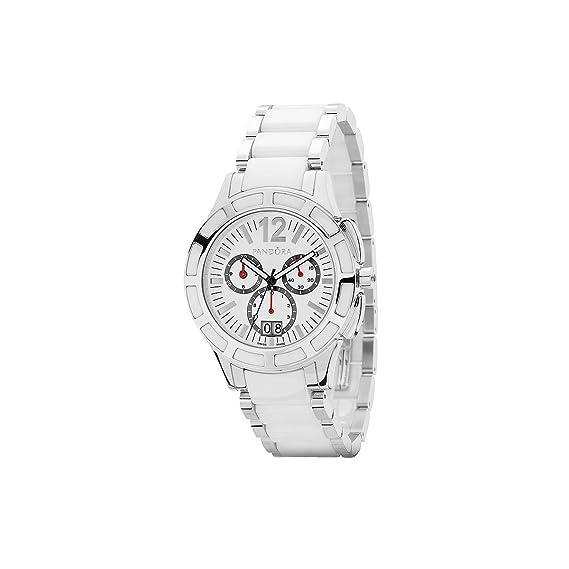 Pandora 811002WH - Reloj cronógrafo de mujer de cuarzo con correa de acero inoxidable blanca