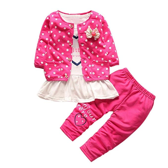 c45bc9e92bb72 Zerototens Girls Clothes Set,0-4 Years Old Toddler Kids Clothes Long Sleeve  Dot