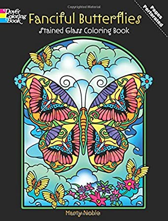 Amazon.com: Fanciful Butterflies Stained Glass Coloring Book (Dover ...