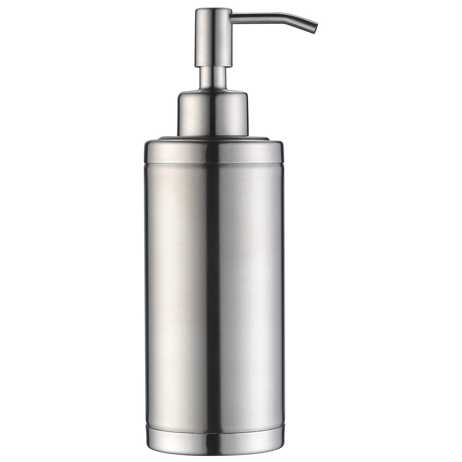 KVADRAT Full Stainless Steel Countertop Sink Soap Dispenser, Prime 300 ML Liquid Bottle For Kitchen & Bathroom Hand Dish Lotion (Brushed Nickle Soap Dispenser) by Kmeino