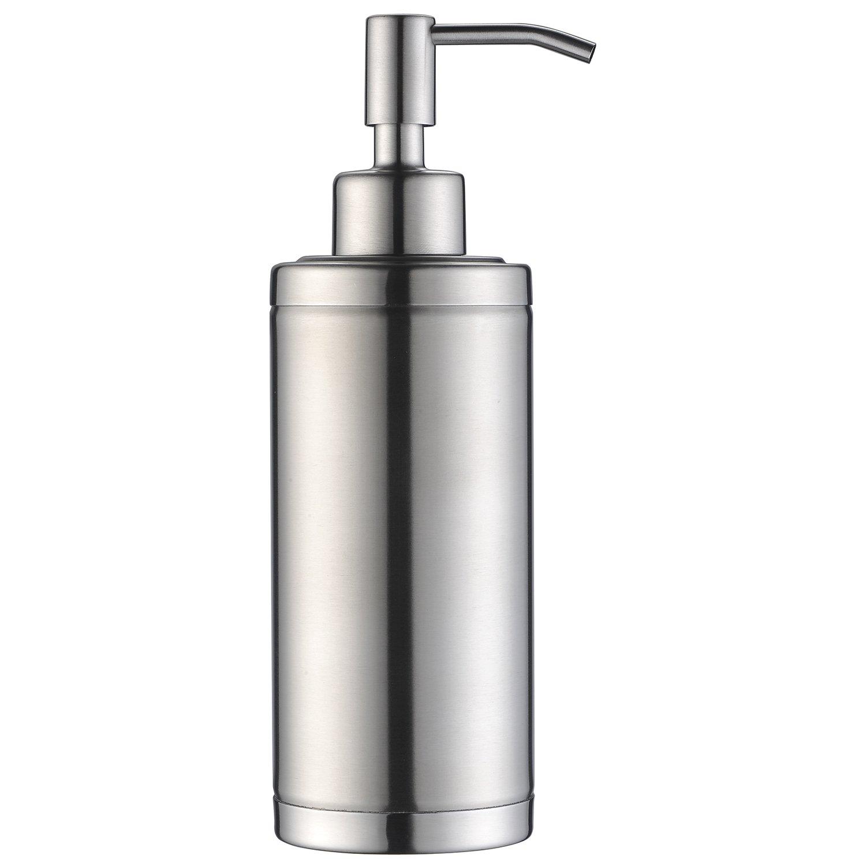 KVADRAT Full Stainless Steel Countertop Sink Soap Dispenser, Prime 300 ML Liquid Bottle For Kitchen & Bathroom Hand Dish Lotion (Brushed Nickel LAB1-04)