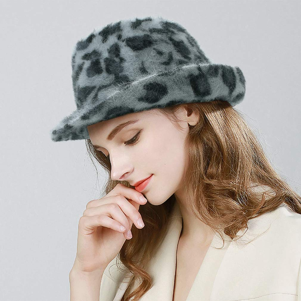 Gemvie Womens Warm Angora Leopard Print Fedora Jazz Hat Party Costumes Trilby Gangster Hat Jazz Cap