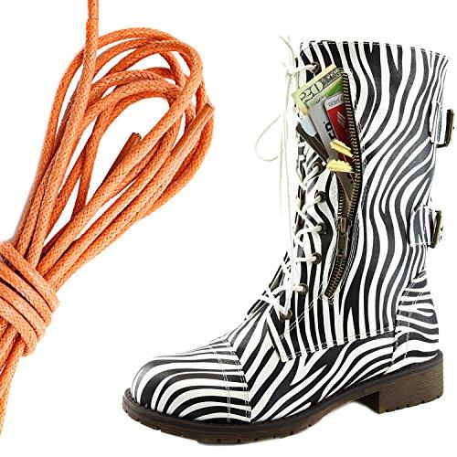 Dailyshoes Damesschoen Met Militaire Veters En Gesp Halfhoge Exclusieve Exclusieve Creditcardzak, Oranje Machtige Zebra