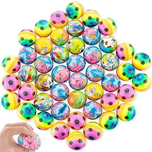 48Pack Squeeze Balls, Soccer Stress Ball Soft Foam Cartoon Stress Relief Ball Party Favors for Kids Adults Birthday, Holiday, Fun Party Toys, Therapy Gift, Prizes, Giveaways and Relaxation by Shallylu