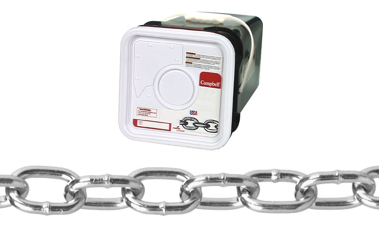Campbell 0309526 Low Carbon Steel Passing Link Chain in Square Pail in Square Pail, Zinc plated, 2/0 Trade, 0.18'' Diameter, 200' Length, 450 lbs Load Capacity