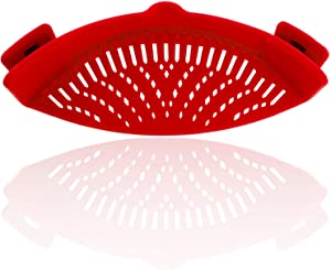 Creazeal Clip-on Food Strainer Food Grade Heat Resistant Silicone Hands-free Drainer Filter for Vegetable Spaghetti Pasta Ground Beef Fits all Pots and Bowls Kitchen Snap Strain Strainer (Red)