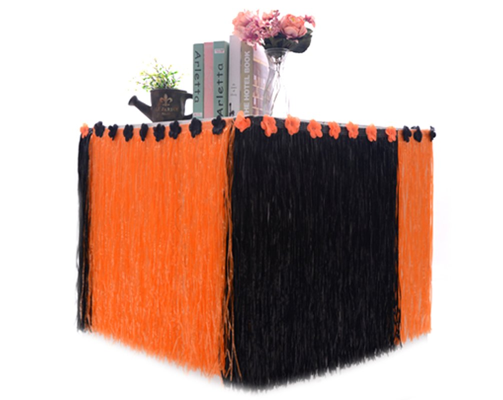 Table Skirts with Black&Orange Artificial Flowers for Halloween Party Decorations, Style A, 9FT